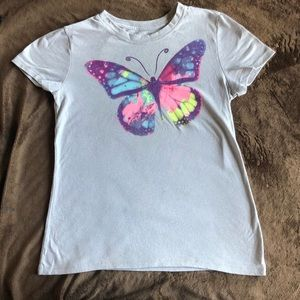 Grey shirt with multicolor purple butterfly